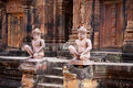 Free Ancient Statues In Banteay Srei Temple, Angkor Stock Image - 19272051