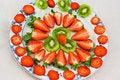 Free Fresh Strawberries And Kiwi Fruit Sliced On A Plat Stock Image - 19275801
