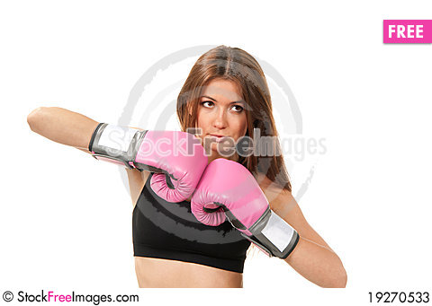 Free Beautiful Boxing Woman In Pink Gloves Stock Photos - 19270533