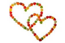 Candies In Love Shape Royalty Free Stock Photo
