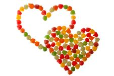 Candies In Love Shape Stock Images