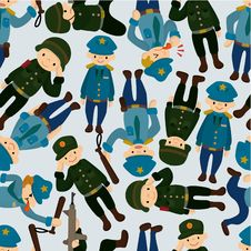 Free Seamless Police And Army Pattern Royalty Free Stock Photo - 19270595