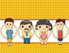 Free Cartoon Family Card Royalty Free Stock Photography - 19270697
