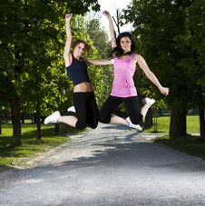 Free Young Girls Jogging In The Park Stock Photography - 19271942