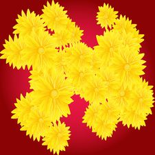 Free Yellow Flowers On Red Background Royalty Free Stock Photo - 19272535
