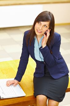 Business Woman Talking On Phone Royalty Free Stock Photo