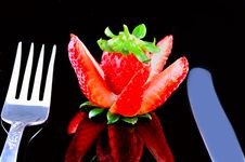 Free Strawberry, A Fork And A Knife Stock Photos - 19274493