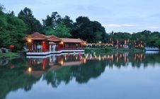 Free Chinese Park At Dusk Royalty Free Stock Image - 19274596