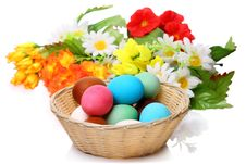 Easter Eggs In A Wicker Basket Royalty Free Stock Photo