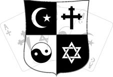 Free Stencil Of Shield And Religious Symbols Stock Images - 19276884