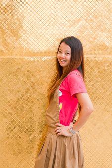 Thai Women Akimbo And Smile Royalty Free Stock Photos