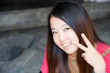 Free Asian Women Showing Two Fingers Stock Photos - 19278433