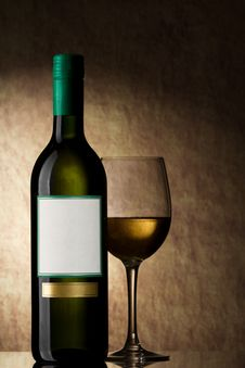 Free Bottle With White Wine And Glass Stock Photos - 19279403