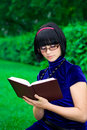 Free Happy Woman With Book Outdoors Royalty Free Stock Photos - 19286848