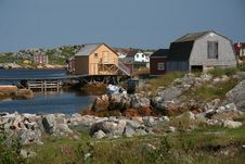 Old-Time Fishing Village Royalty Free Stock Photo