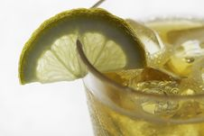 A Glass Of Ice Tea With Lemon Slice Stock Photography