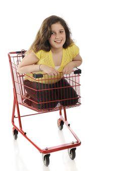 Free Tween Shopping Cart Rider Royalty Free Stock Photos - 19280868