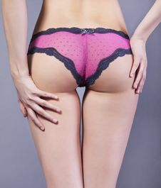 Women S Booty In Pink Lace Panties Royalty Free Stock Images