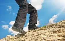 Free Climber In Mountain. Stock Image - 19282341