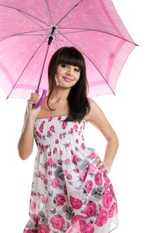 Free Girl With Rose Umbrella Look At You And Smile Royalty Free Stock Photo - 19282525