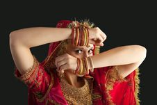 Free Young Girl In Red Indian Costume Closeup Portrait Royalty Free Stock Photography - 19282637