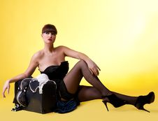Free Sexy Woman With Broken Baggage Royalty Free Stock Image - 19282646