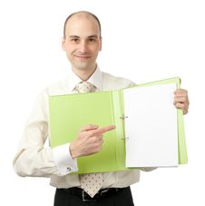 Free Businessman Pointing On Blank Sheet Stock Images - 19285024
