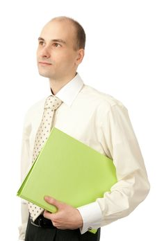 Portrait Of Young Businessman With Folder Stock Photo