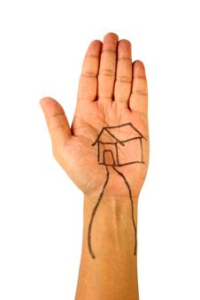 Free Drawing Of House On Hand Stock Photography - 19286242