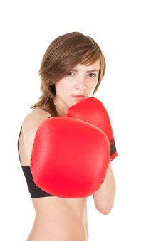 Free Sports Girl With Boxing Gloves Royalty Free Stock Image - 19288046