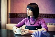 Free Young Woman In Cafe Royalty Free Stock Photos - 19288948