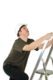 Free Worker Climbing Upwards Upon Ladder Royalty Free Stock Image - 19289036
