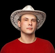Man Wearing A Cowboy Hat. Stock Photography