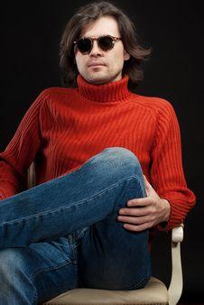 Long Hair Man Wearing Sunglasses Stock Photo