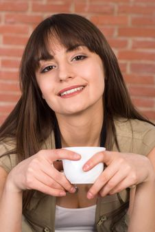 Free Pretty Girl With A Cup Stock Photo - 19289240