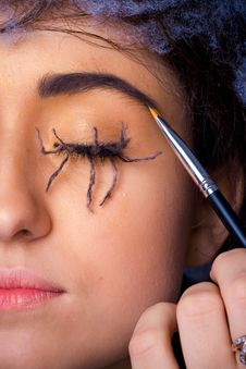 Free Woman With With Lashes Spider Makeup Stock Photo - 19289560