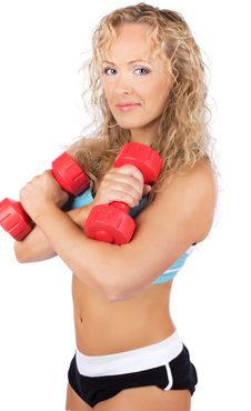 Woman During Training Stock Image