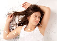 Free Cute Happy Woman Covered In Confetti Royalty Free Stock Photos - 19290418