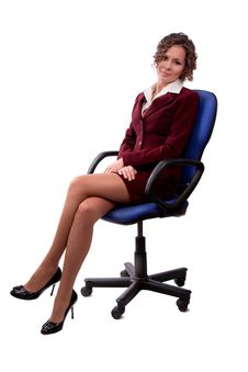 Business Woman Sitting On A Chair. Royalty Free Stock Images