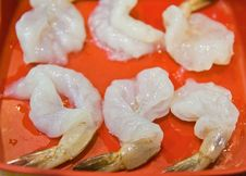 Choped Raw Shrimp On Red Plate Royalty Free Stock Photo