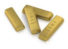 Free Gold Ingots Or Bullion On White Background Stock Photo - 19292160