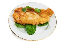Free Schnitzel With Sorrel Leaves And Cilantro Stock Images - 19293394