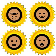 Free Smiley Award Icon Set Royalty Free Stock Images - 19293959