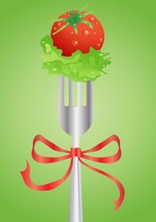 Free Fresh Red Tomato And Salad On A Fork Royalty Free Stock Image - 19295376