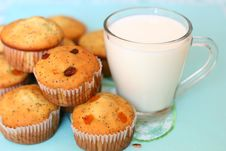 Free Muffins And A Glass Of Milk Royalty Free Stock Image - 19295466