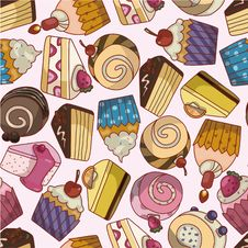 Free Seamless Cartoon Cake Pattern Royalty Free Stock Images - 19295549