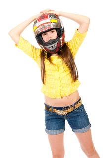 Free Schoolgirl Portrait In The Helmet Royalty Free Stock Images - 19296099