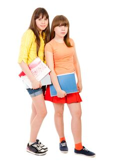 Free Two Schoolgirls Teenagers Royalty Free Stock Photo - 19296105