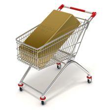 Free Shopping Cart Gold Stock Photo - 19296340