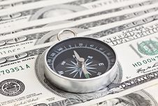 Free Macro Shot Of Compass With 100 Dollar Stock Photo - 19296960